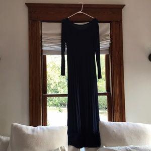 Navy blue jersey maxi dress